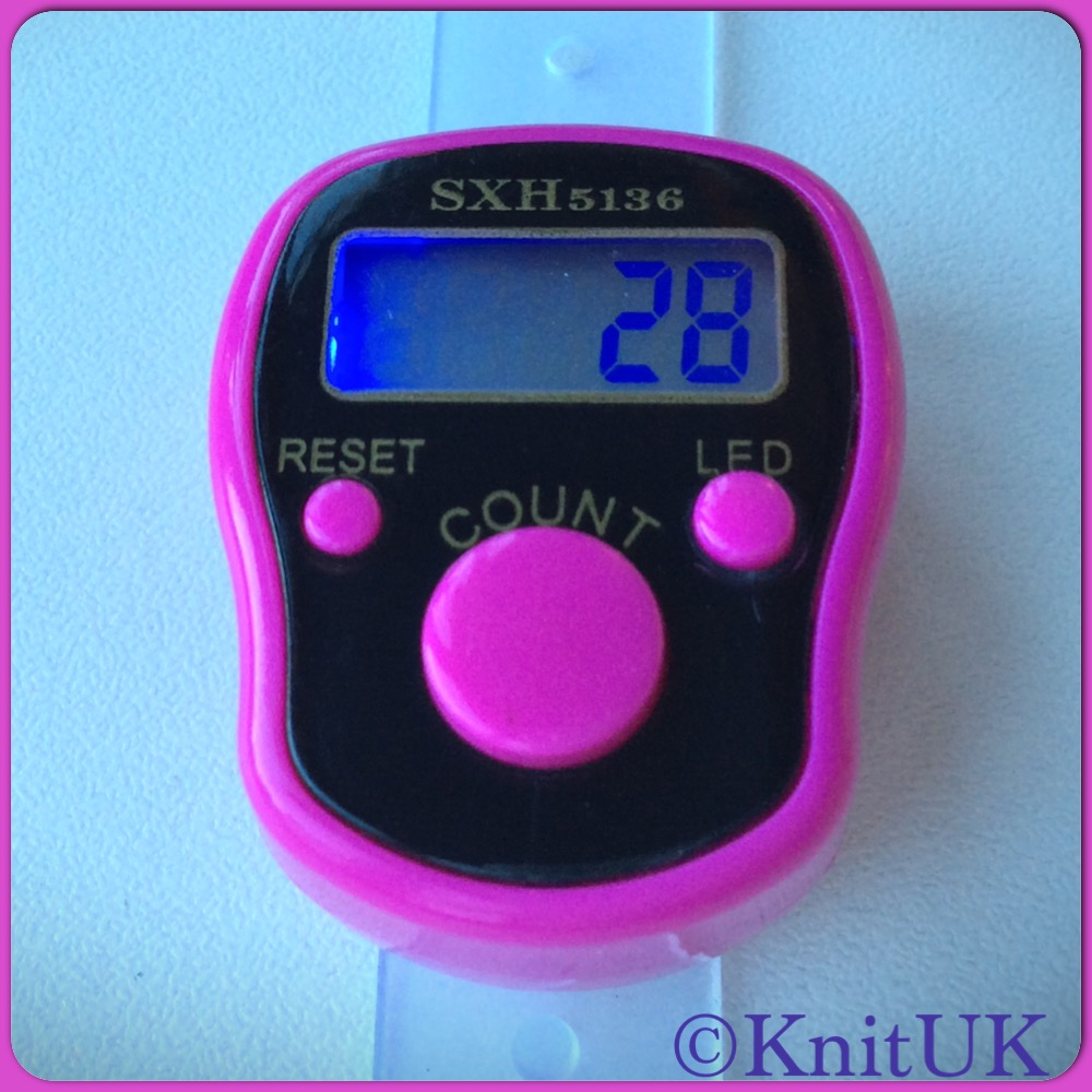 KnitUK Tally Counter. LED Backlight. Finger-Held Digital Knitting Row Counter. Choose colour.