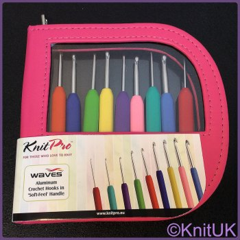 KnitPro Waves Single Ended Crochet Hook Set. Pink