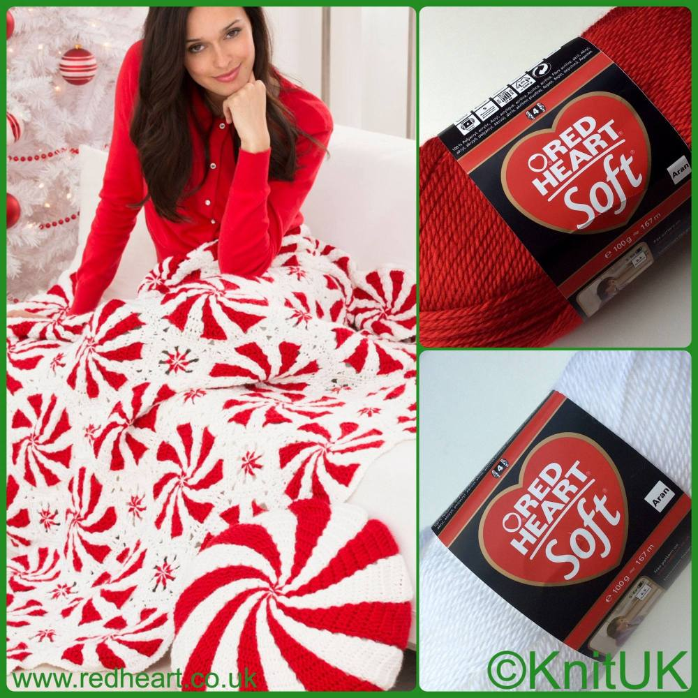red hear soft free pattern peppermint throw and pillow crochet