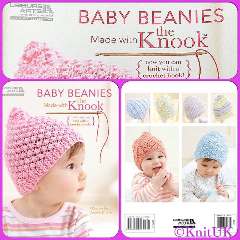 LA baby beanies made with knook f n b