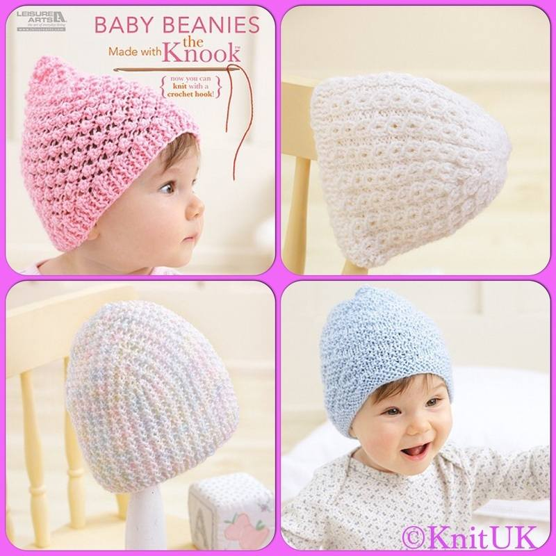 LA baby beanies made with knook projects