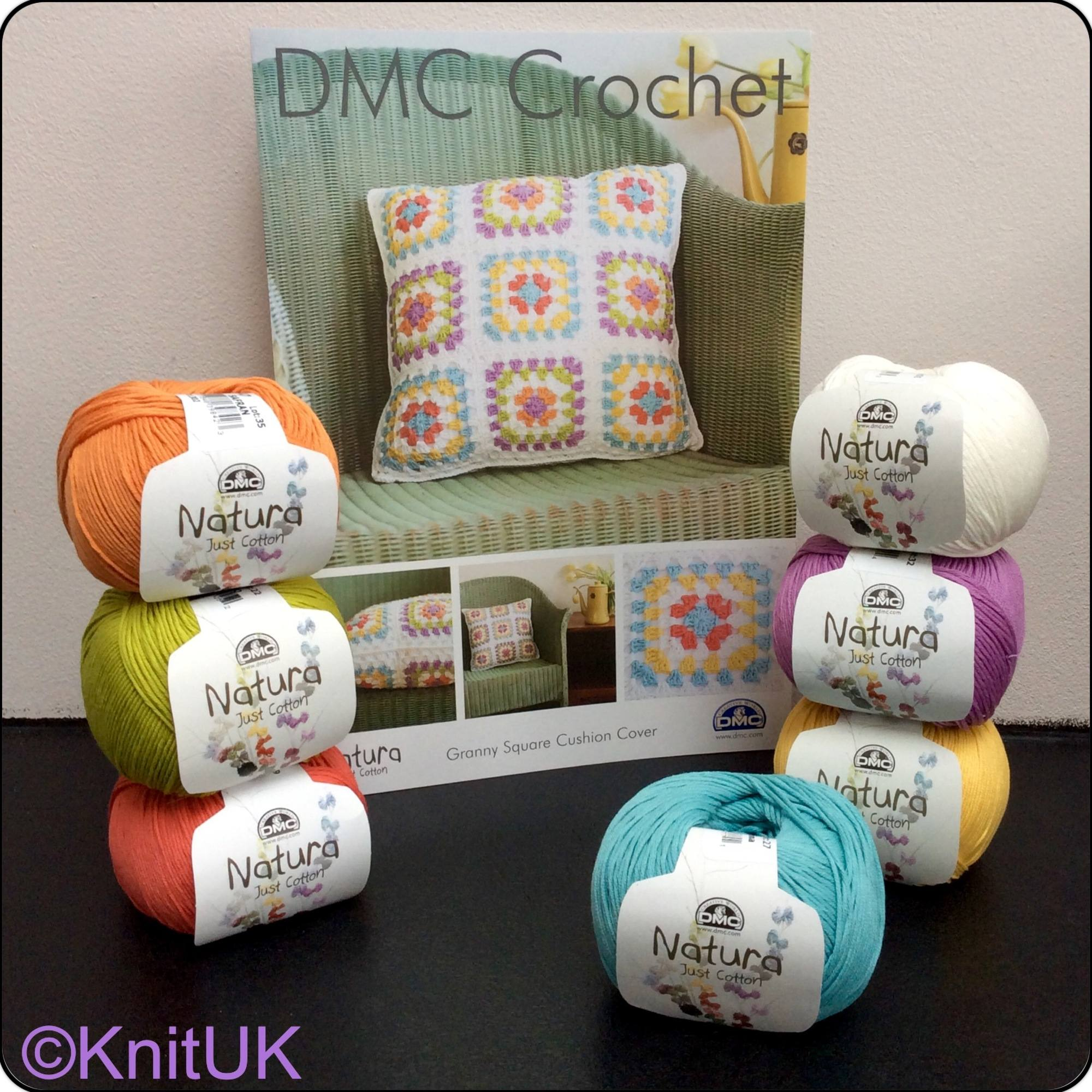 dmc crochet natura 4ply and Granny Square cushion cover