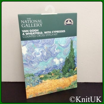 The National Gallery. Van Gogh - A Wheatfield, with Cypresses. Counted Cross Stitch Kit. DMC