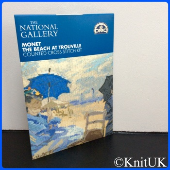 The National Gallery. Monet - The Beach at Trouville. Counted Cross Stitch Kit. DMC