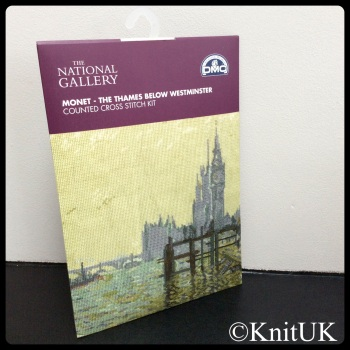 The National Gallery. Monet - The Thames Below Westminster. Counted Cross Stitch Kit. DMC