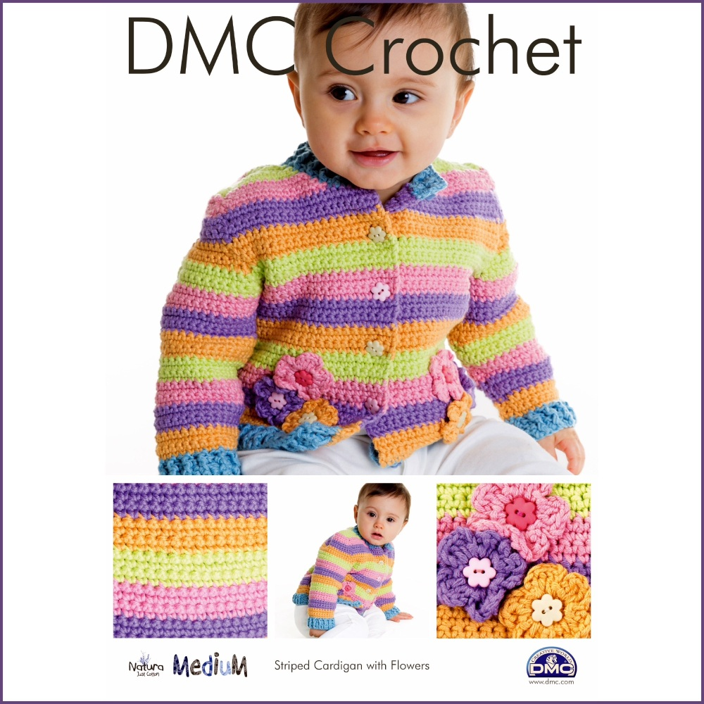 DMC Crochet - Striped Cardigan with Flowers. Leaflet