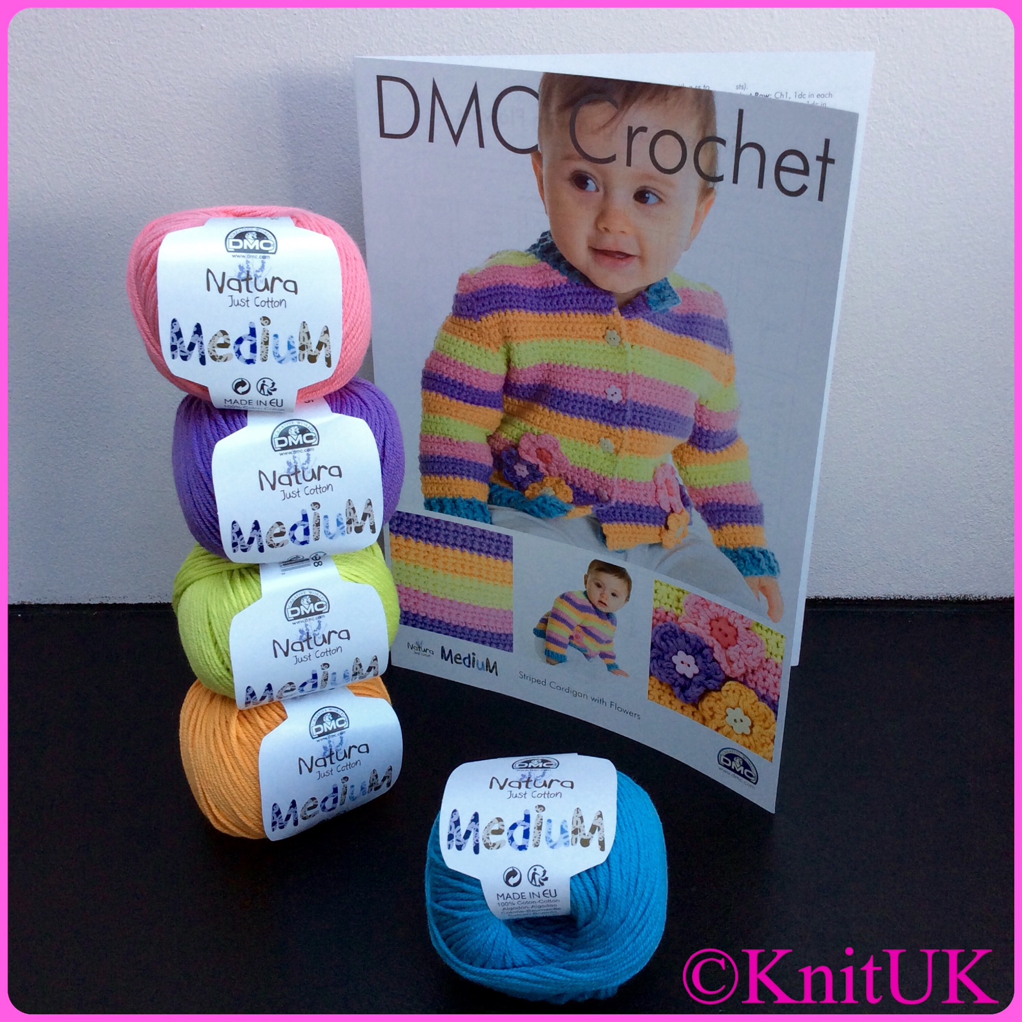 DMC crochet striped cardigan with flowers and natura medium yarn