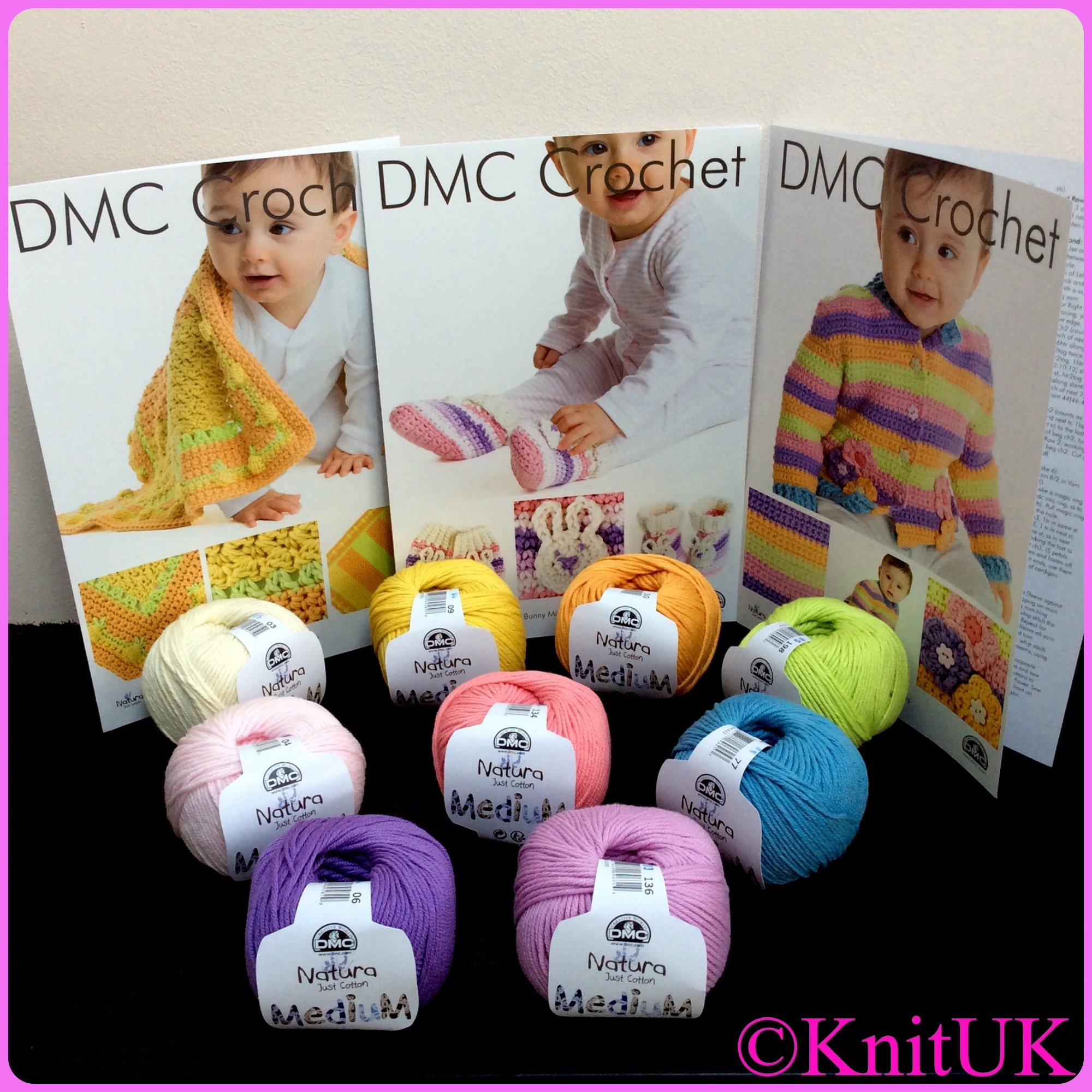 DMC crochet patterns and natura just cotton medium yarn