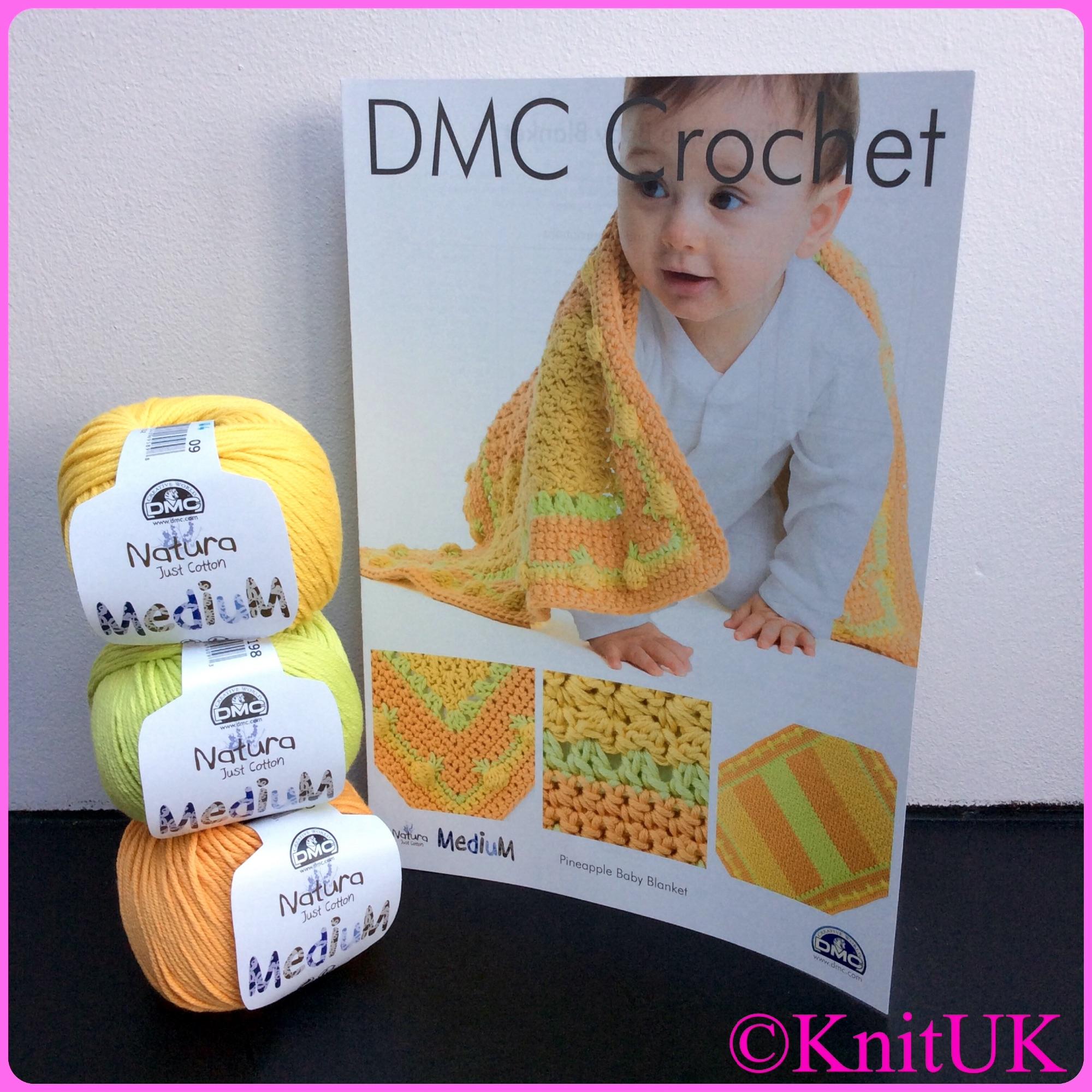 DMC crochet pattern pineapple baby blanket and natura medium yarn