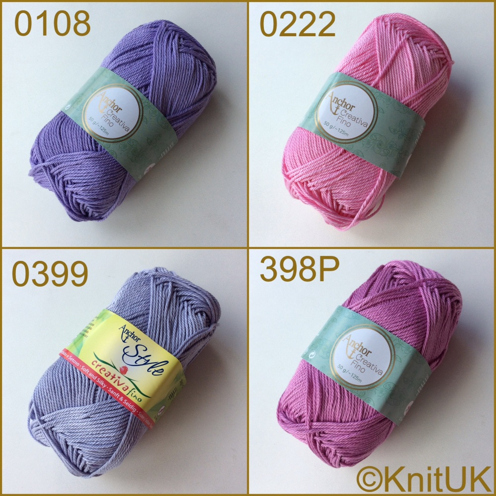 Anchor Style Creativa Fino 4ply yarn Lilac and pink