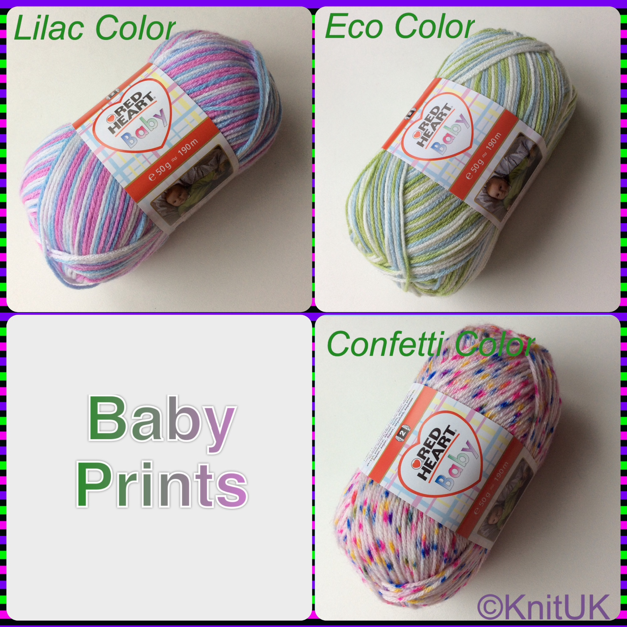 Red Heart Baby prints colours lilac eco confetti color