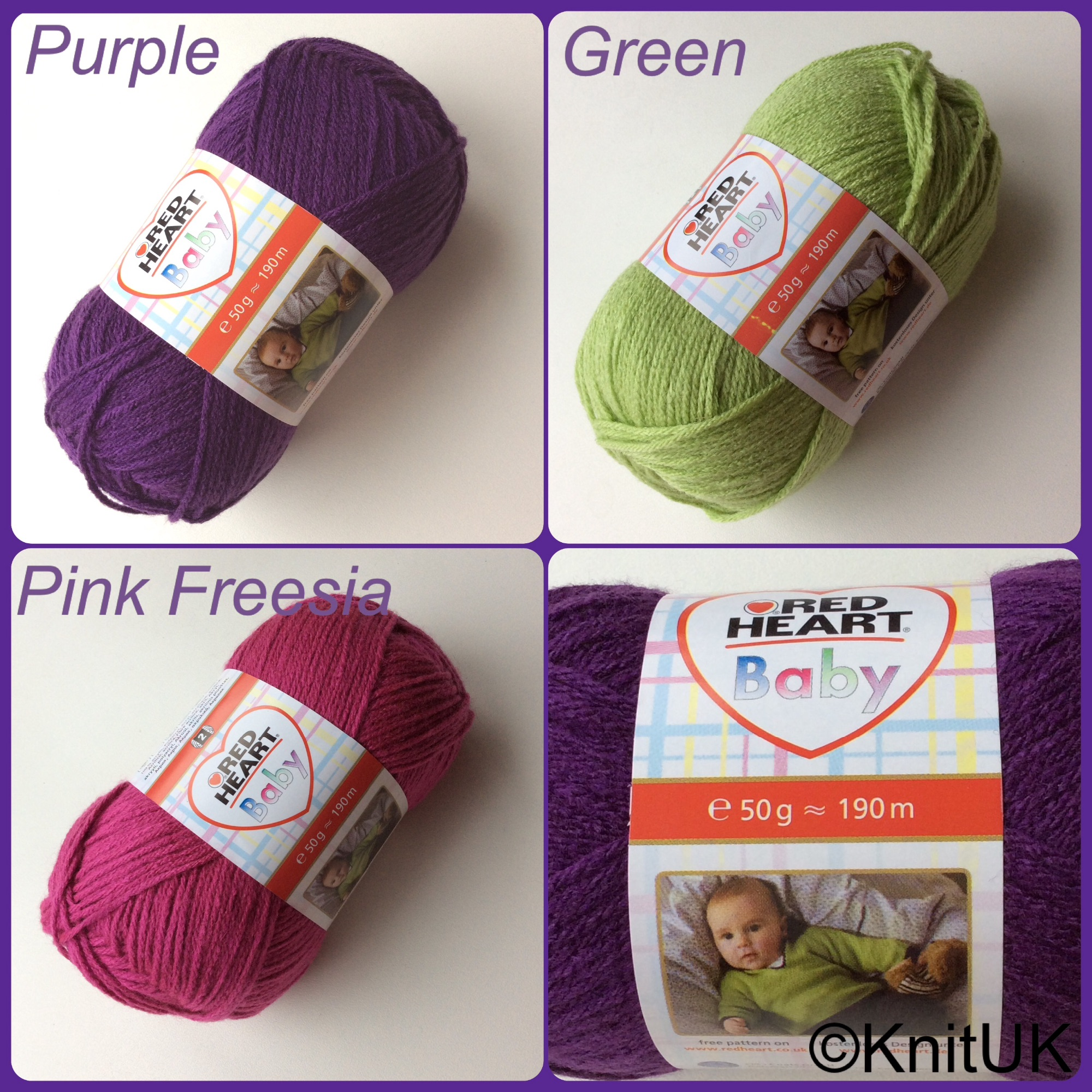 Red Heart Baby Colours purple green pink freesia