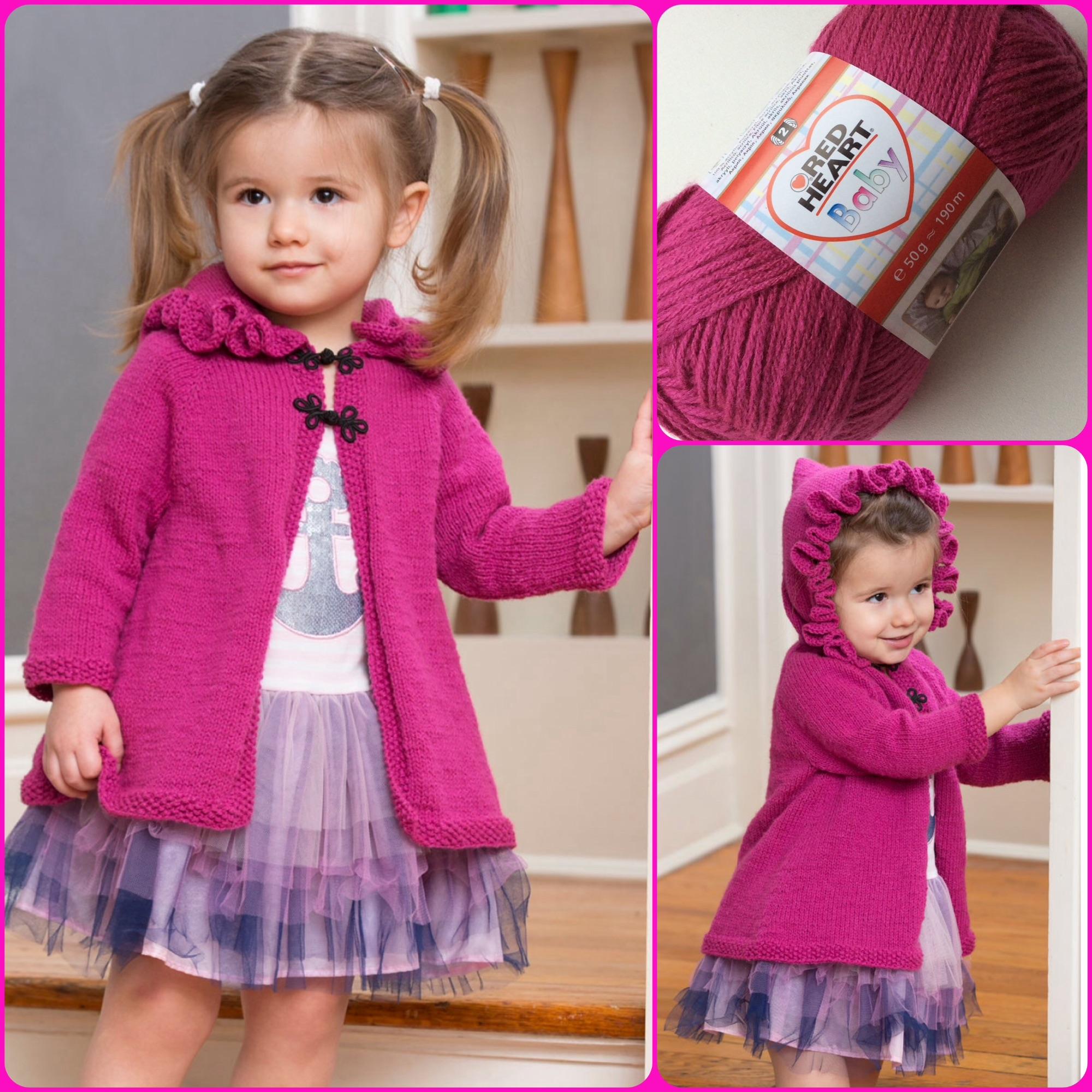 Red Heart Baby Pattern ruffle hoodie