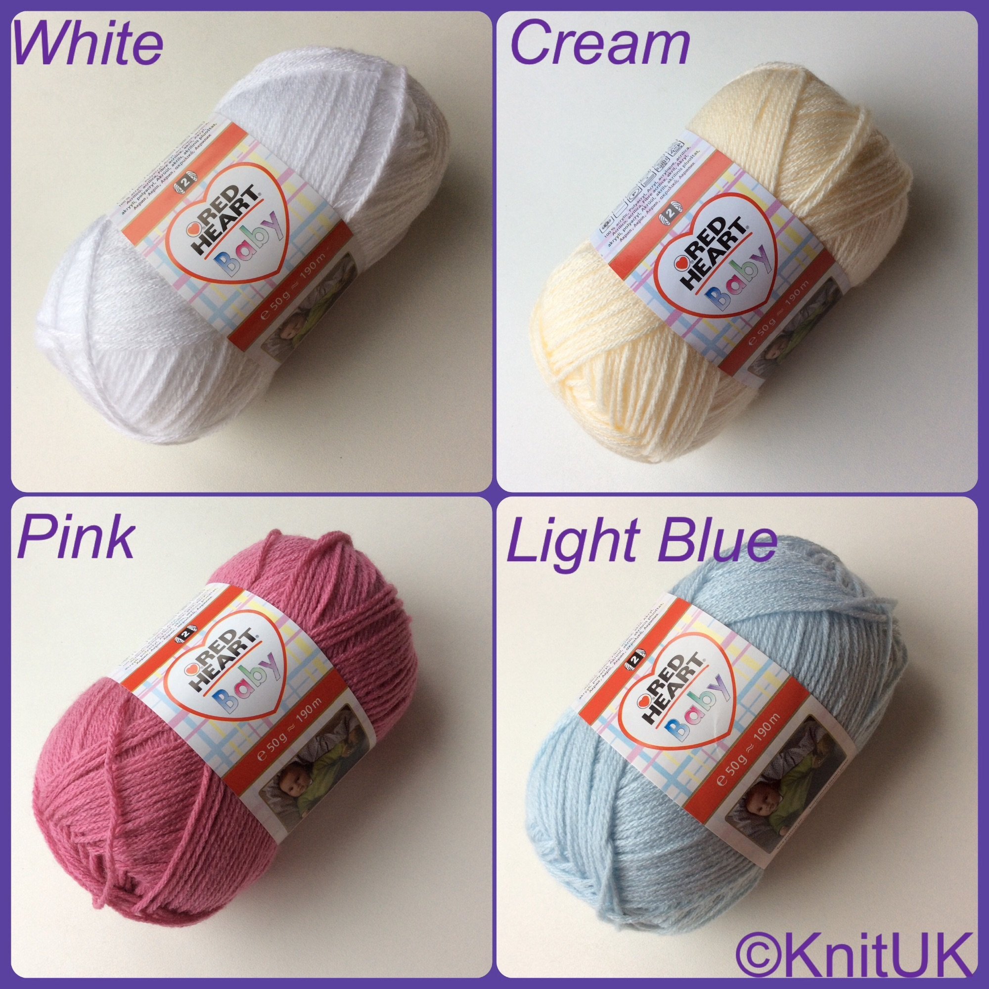 Red Heart Baby colours white cream pink blue