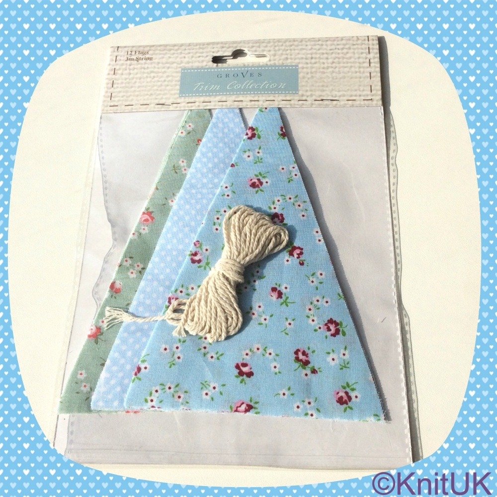 Bunting Kit. Make-your-own (Groves). Cotton - Blue Floral