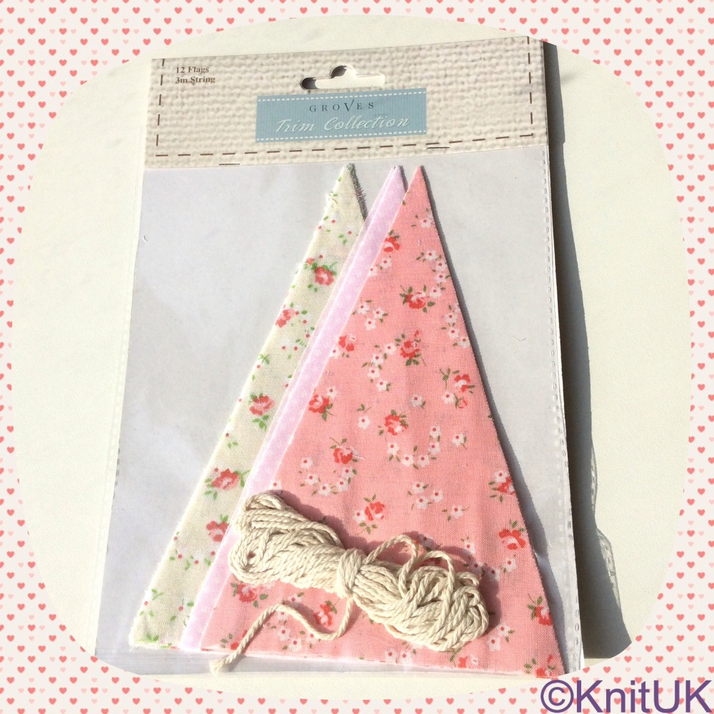 Bunting Kit. Make-your-own (Groves). Cotton - Pink Floral