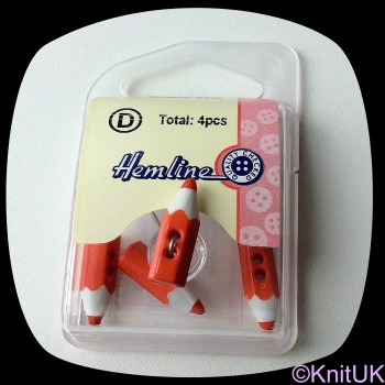 Button Red Pencil. 4 Pack (19mm)