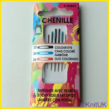 Colour-coded Eye Needles - Chenille. Sizes 22 / 24 / 26