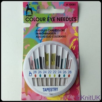 Coloured Eye Hand Sewing Needles Compact - Tapestry (Pony). 24 per Pack