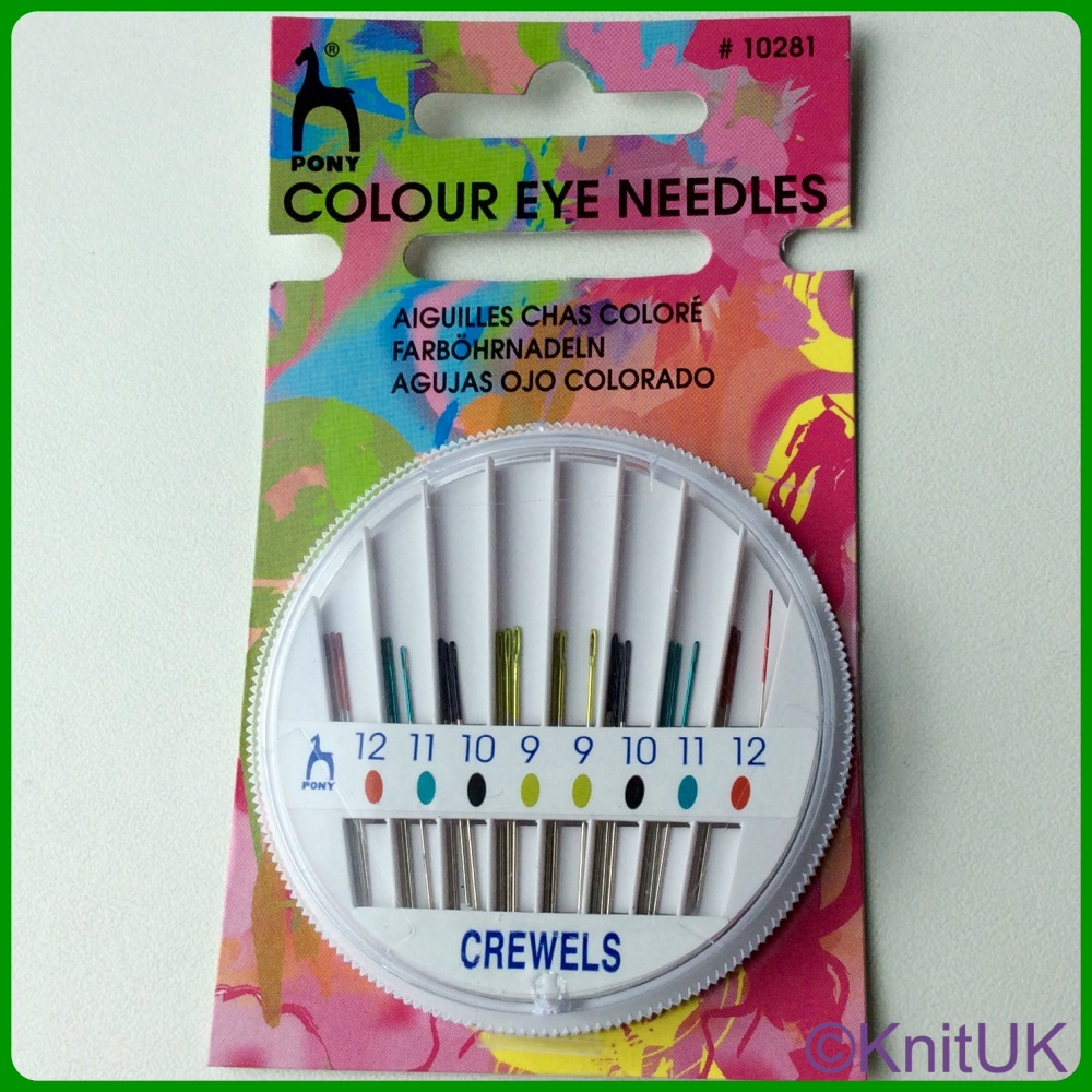 Coloured Eye Hand Sewing Needles Compact - Crewels (Pony). 24 per Pack