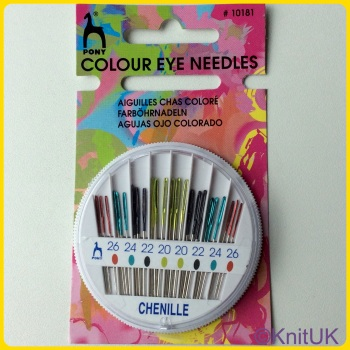 Coloured Eye Hand Sewing Needles Compact - Chenille (Pony). 24 per Pack