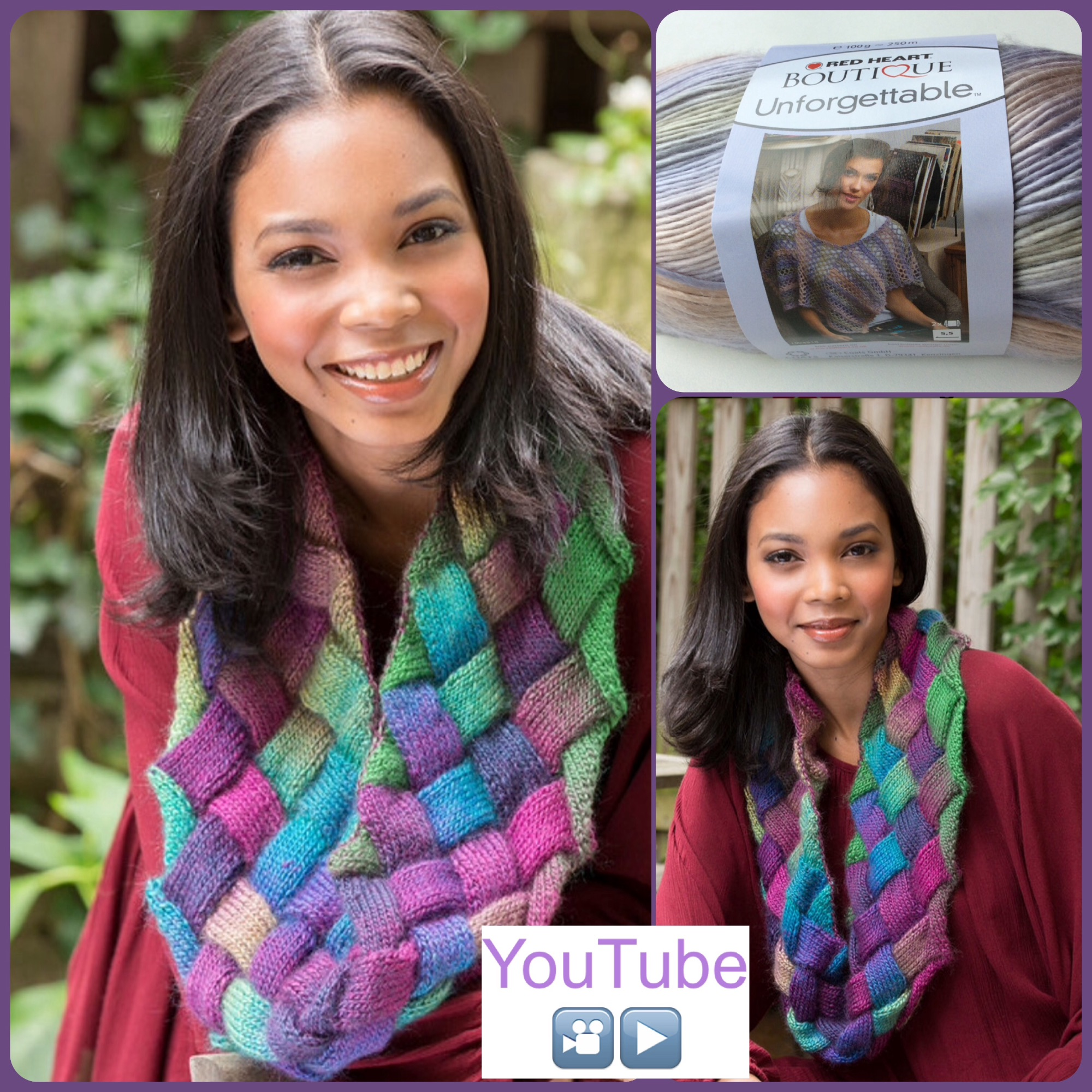 Red heart boutique unforgettable Entrelac cowl free pattern