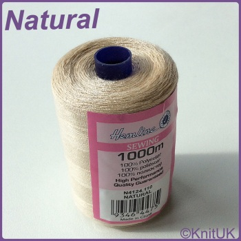 Hemline Sewing Thread 100% Polyester - 1000m. Natural