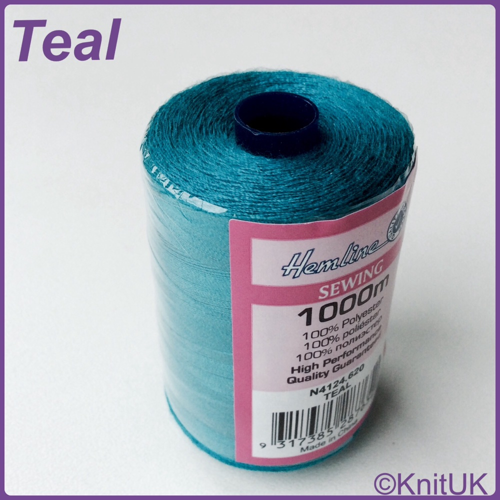 Hemline Sewing Thread 100% Polyester - 1000m. Teal