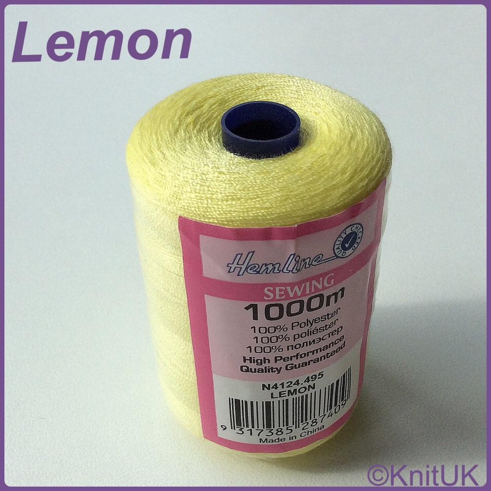 Hemline Sewing Thread 100% Polyester - 1000m. Lemon