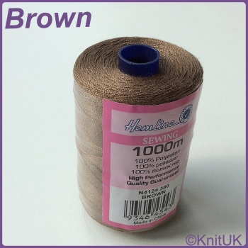 Hemline Sewing Thread 100% Polyester - 1000m. Brown
