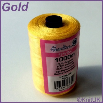 Hemline Sewing Thread 100% Polyester - 1000m. Gold