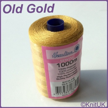 Hemline Sewing Thread 100% Polyester - 1000m. Old Gold
