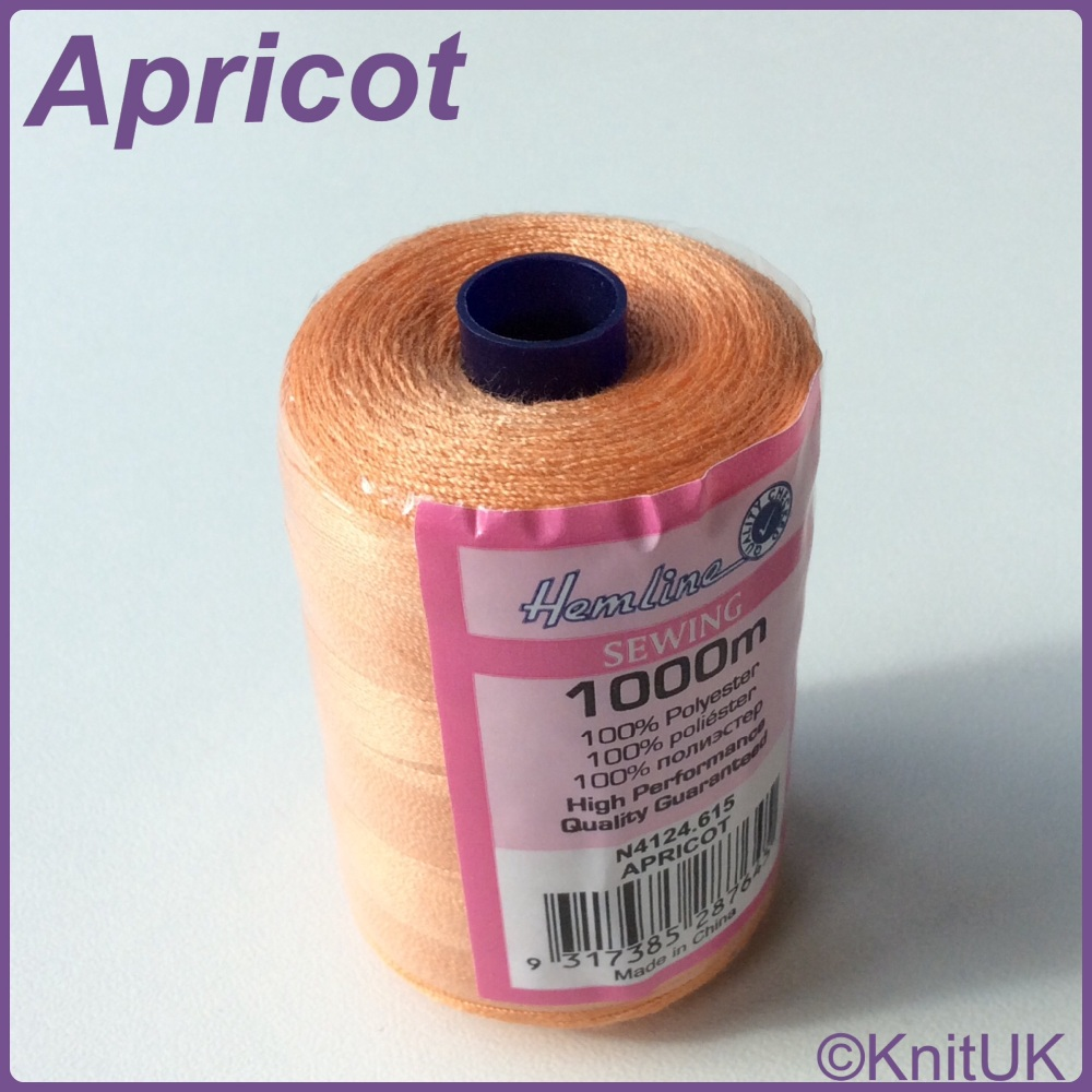 Hemline Sewing Thread 100% Polyester - 1000m. Apricot