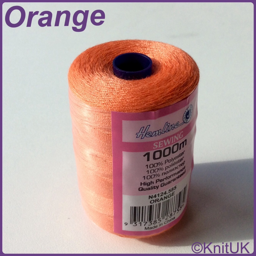 Hemline Sewing Thread 100% Polyester - 1000m. Orange