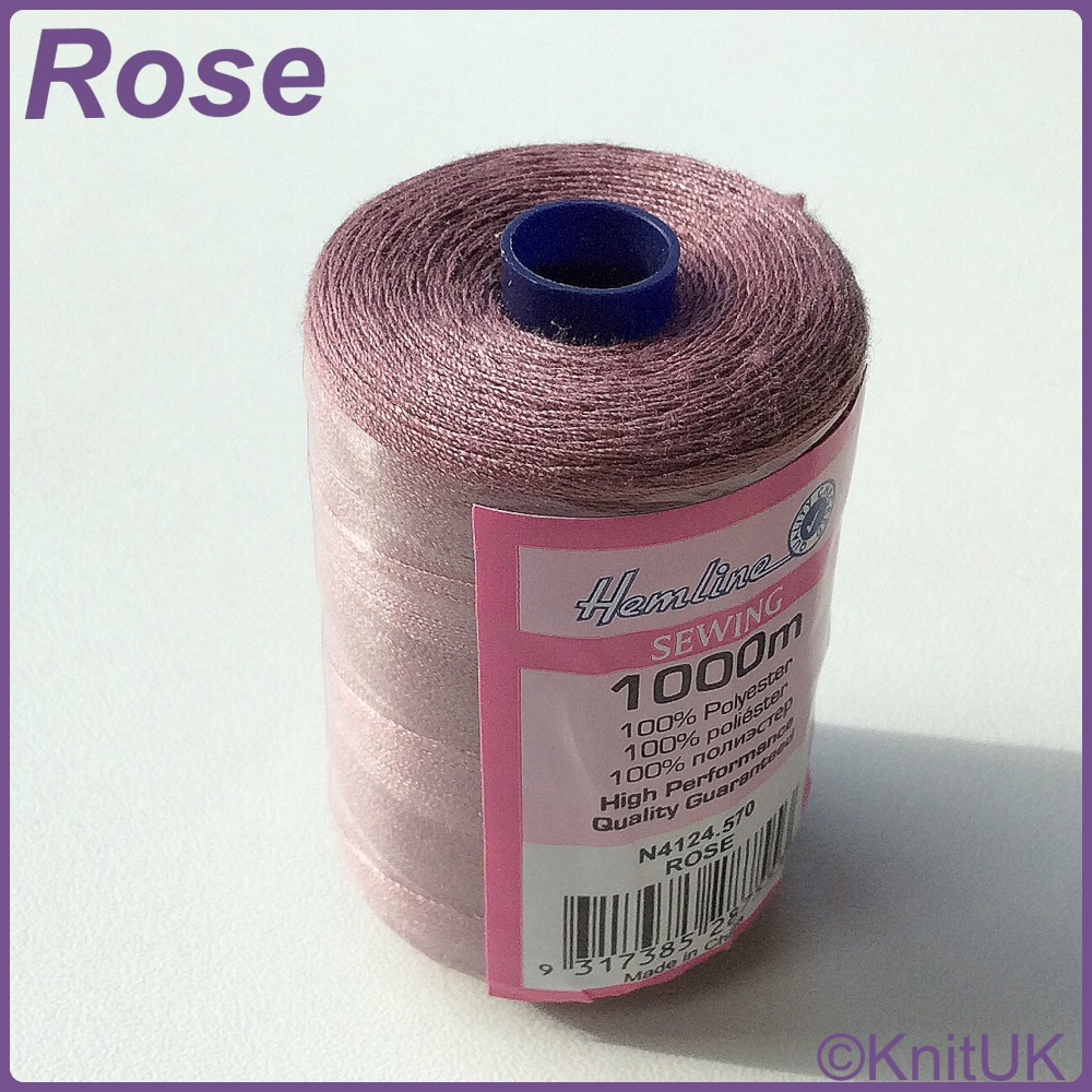 Hemline Sewing Thread 100% Polyester - 1000m. Rose