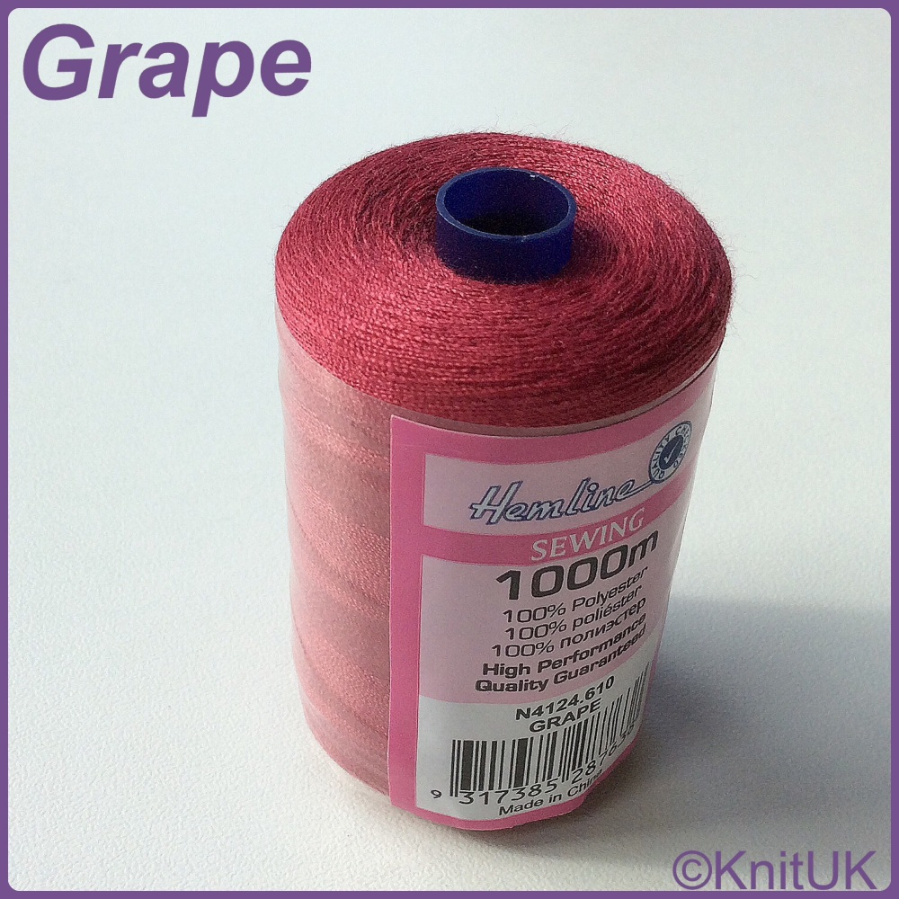 Hemline Sewing Thread 100% Polyester - 1000m. Grape