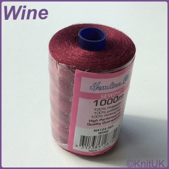 Hemline Sewing Thread 100% Polyester - 1000m. Wine