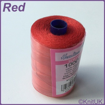 Hemline Sewing Thread 100% Polyester - 1000m. Red