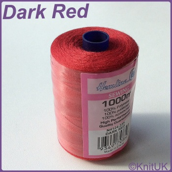 Hemline Sewing Thread 100% Polyester - 1000m. Dark Red