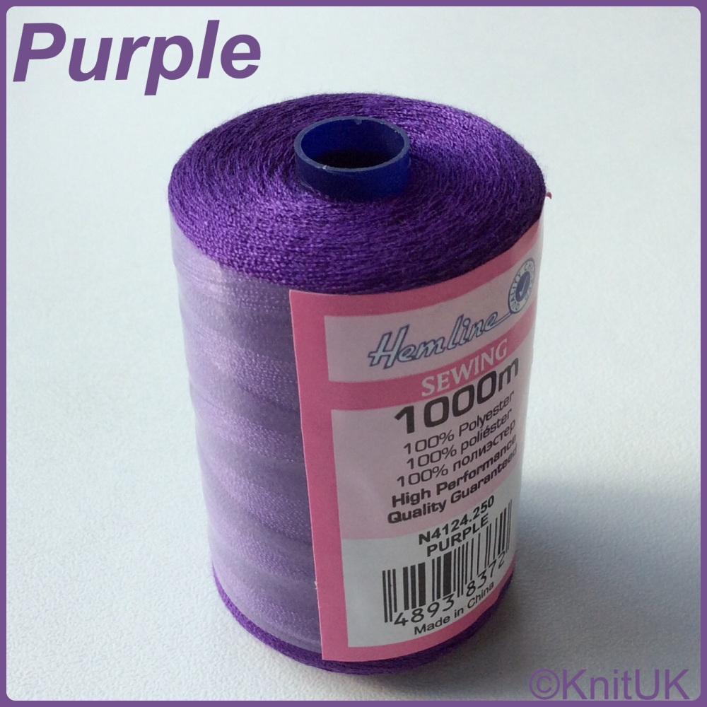 Hemline Sewing Thread 100% Polyester - 1000m. Purple