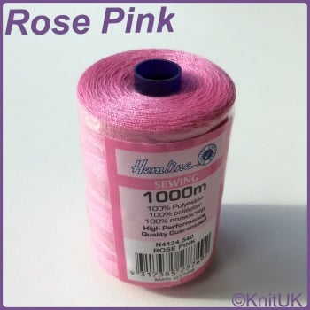 Hemline Sewing Thread 100% Polyester - 1000m. Rose Pink