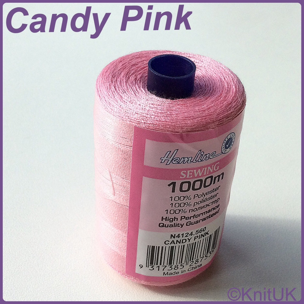 Hemline Sewing Thread 100% Polyester - 1000m. Candy Pink