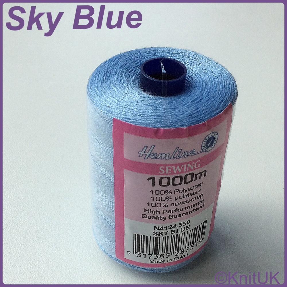 Hemline Sewing Thread 100% Polyester - 1000m. Sky Blue