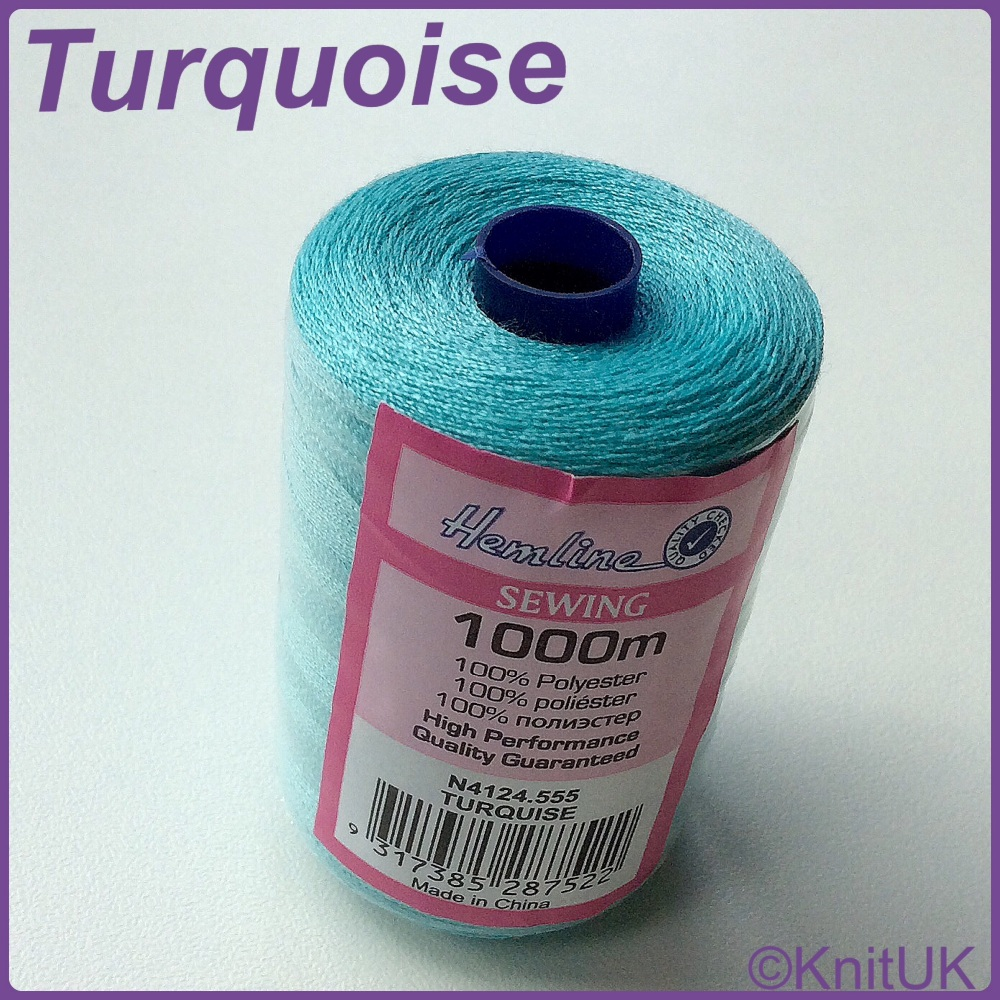 Hemline Sewing Thread 100% Polyester - 1000m. Turquoise