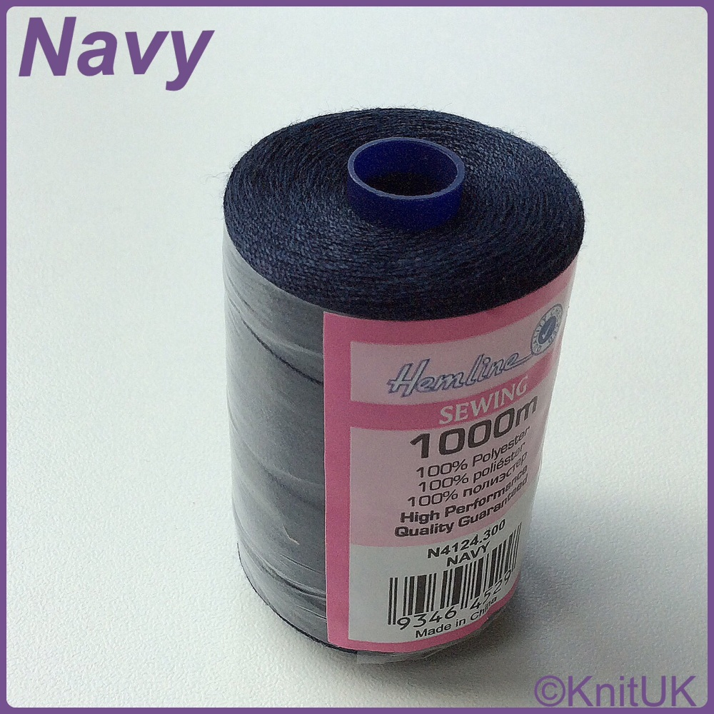 Hemline Sewing Thread 100% Polyester - 1000m. Navy