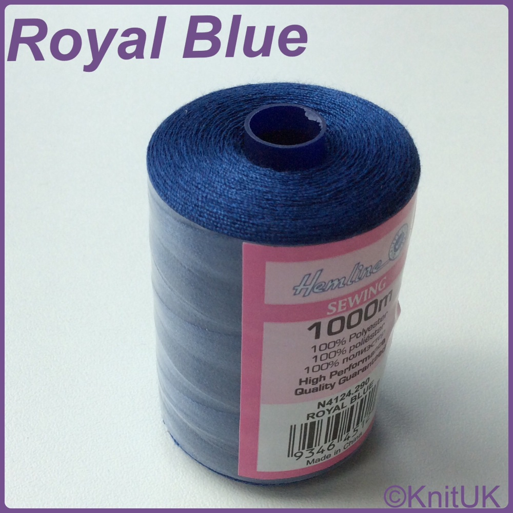 Hemline Sewing Thread 100% Polyester - 1000m. Royal Blue