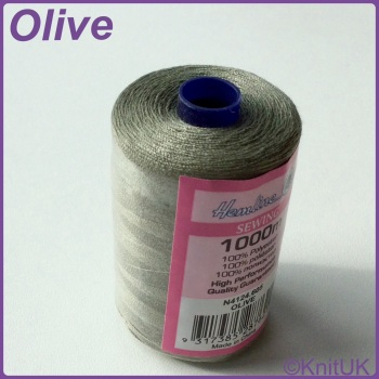 Hemline Sewing Thread 100% Polyester - 1000m. Olive