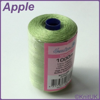 Hemline Sewing Thread 100% Polyester - 1000m. Apple