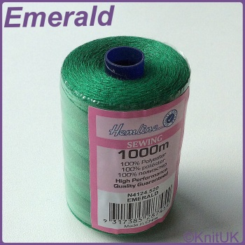 Hemline Sewing Thread 100% Polyester - 1000m. Emerald