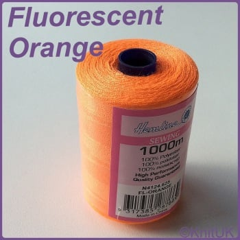 Hemline Sewing Thread 100% Polyester - 1000m. FL-Orange